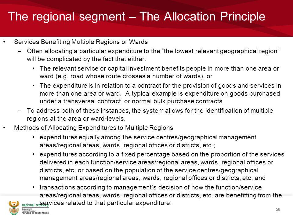 The regional segment – The Allocation Principle