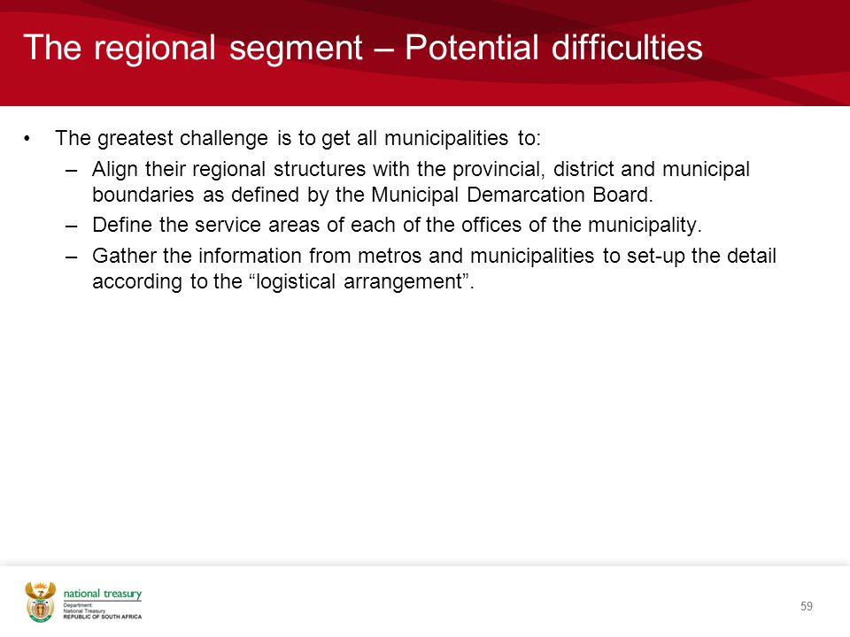 The regional segment – Potential difficulties