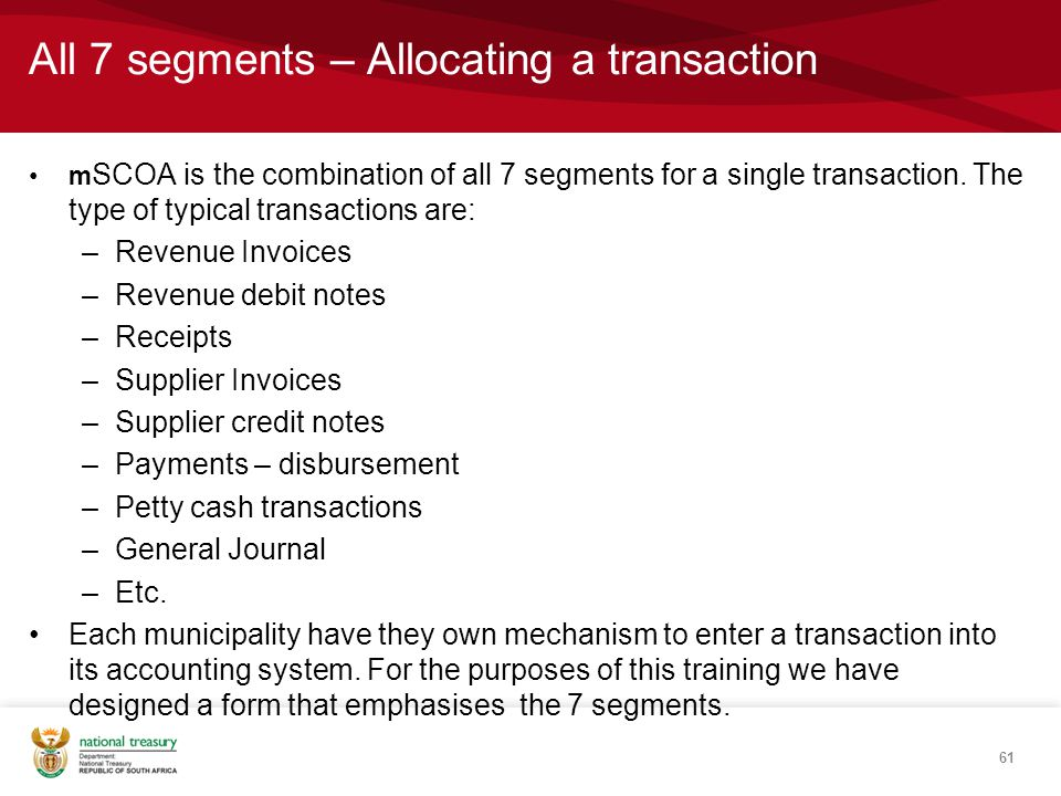 All 7 segments – Allocating a transaction