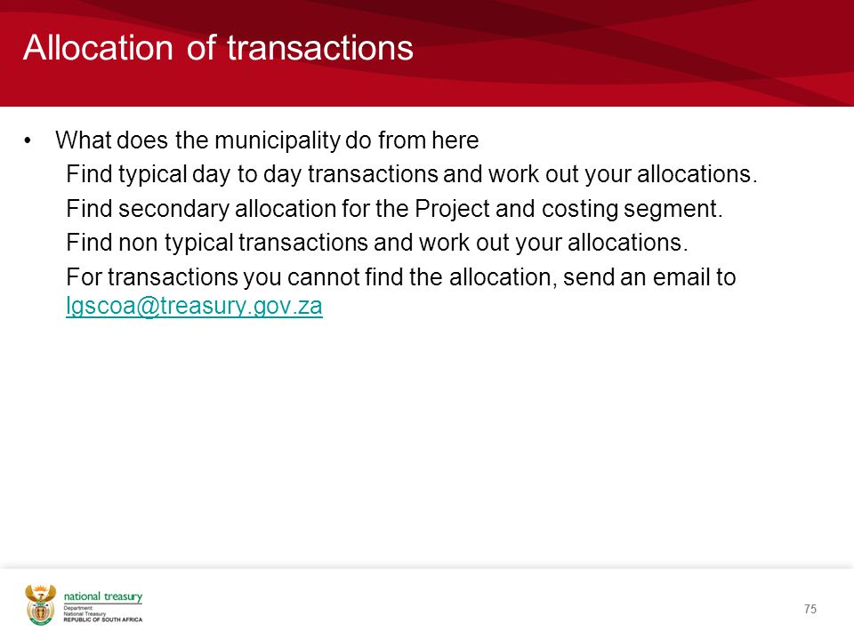 Allocation of transactions