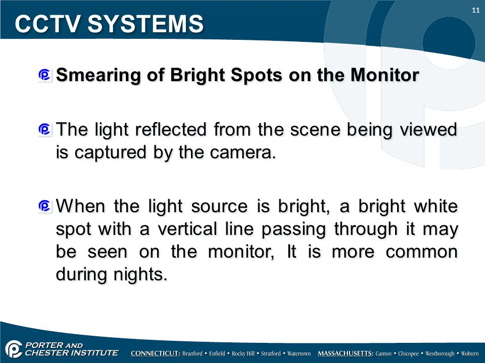 CCTV SYSTEMS Smearing of Bright Spots on the Monitor