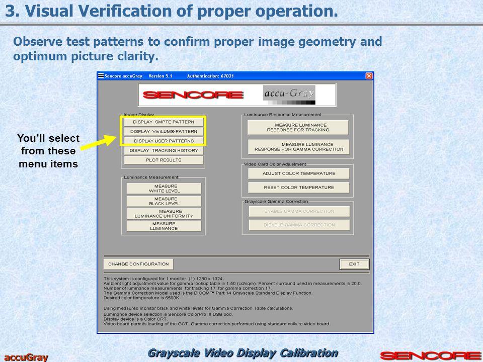 3. Visual Verification of proper operation.