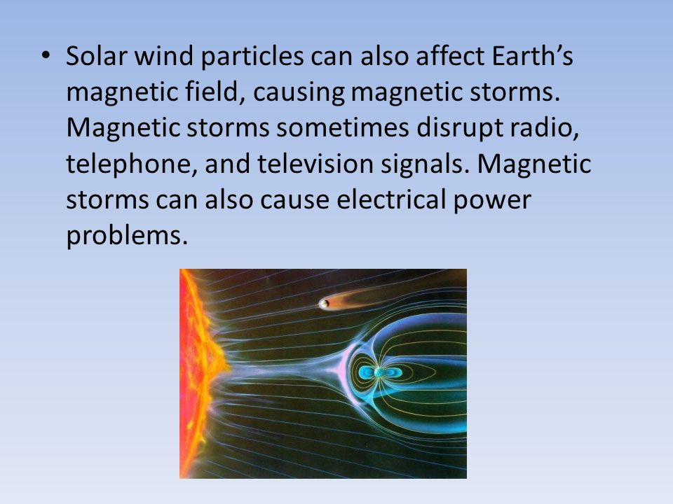 Solar wind particles can also affect Earth's magnetic field, causing magnetic storms.