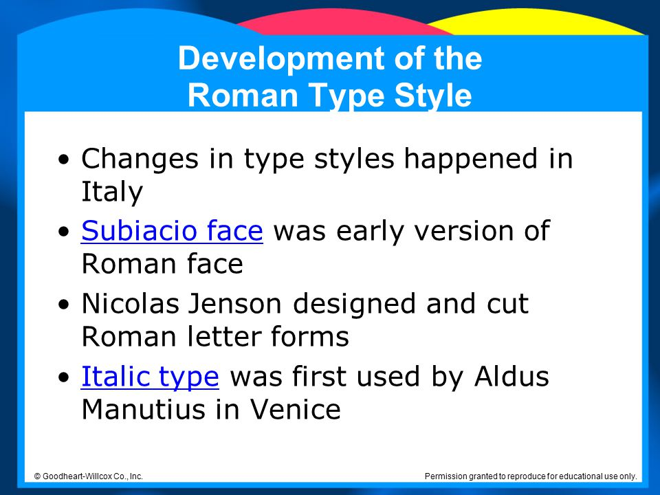 Development of the Roman Type Style
