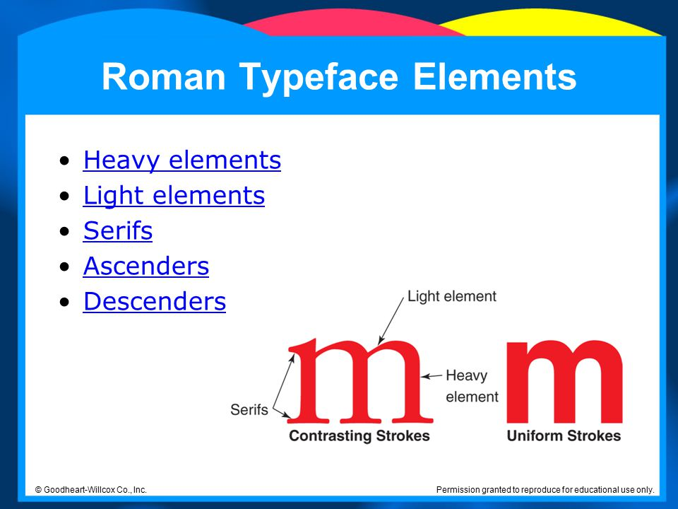Roman Typeface Elements