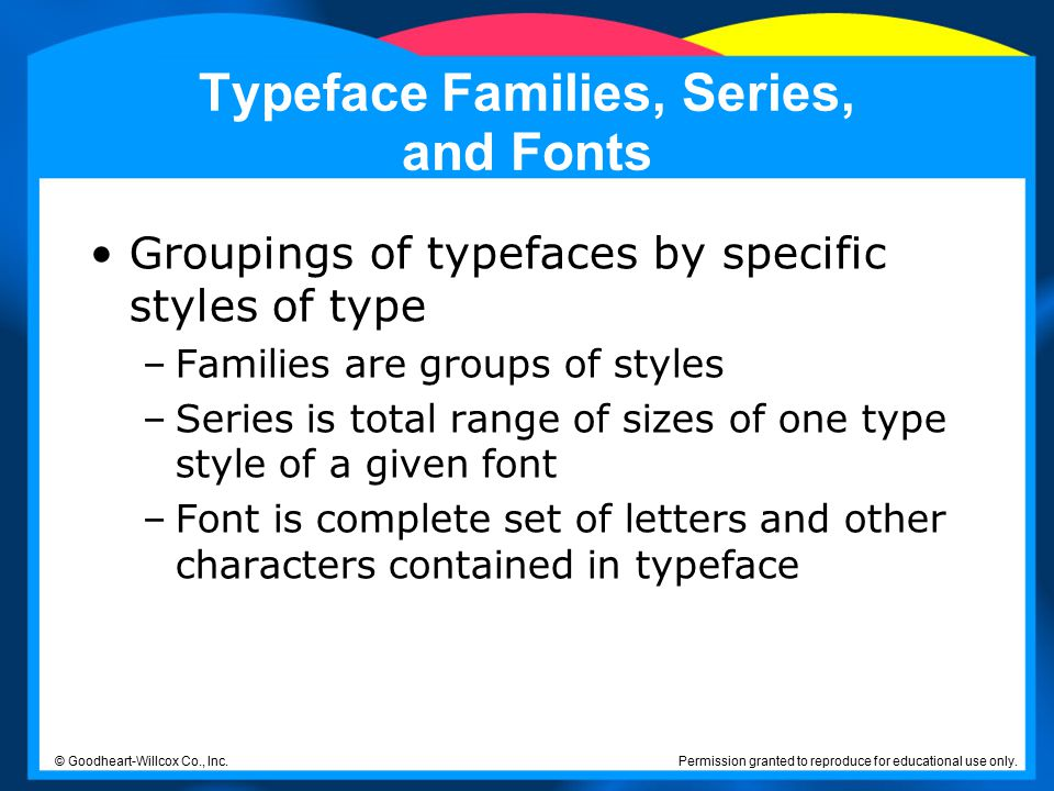 Typeface Families, Series, and Fonts