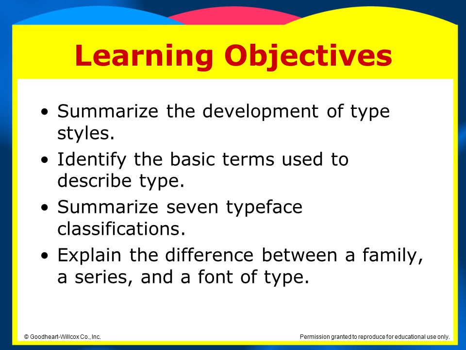 Learning Objectives Summarize the development of type styles.