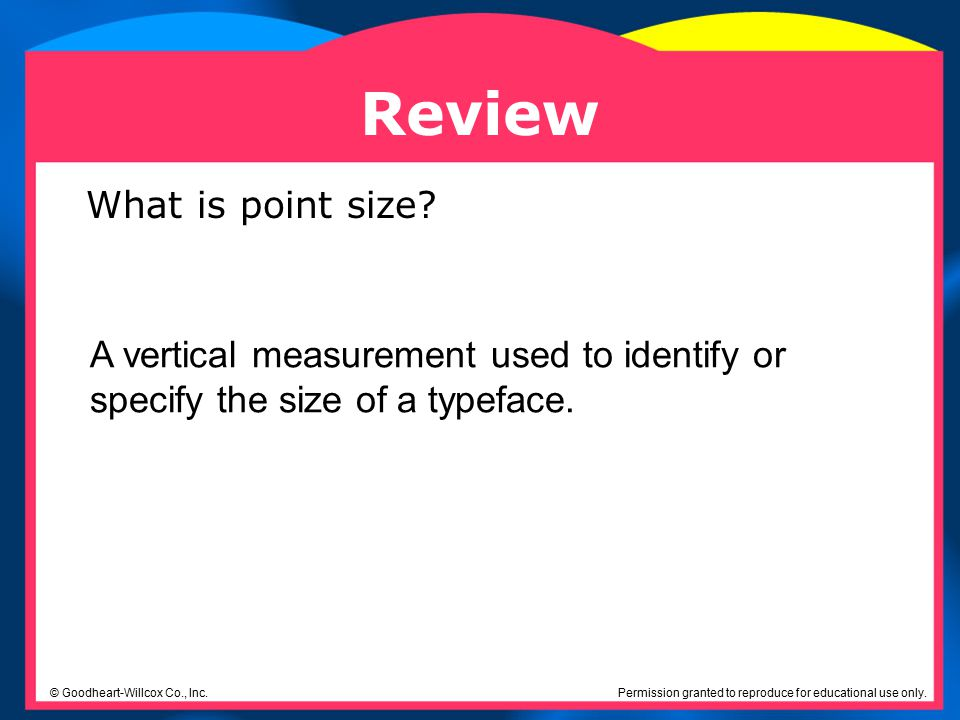 Review What is point size