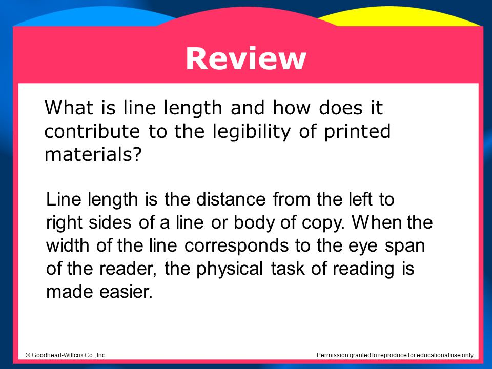 Review What is line length and how does it contribute to the legibility of printed materials