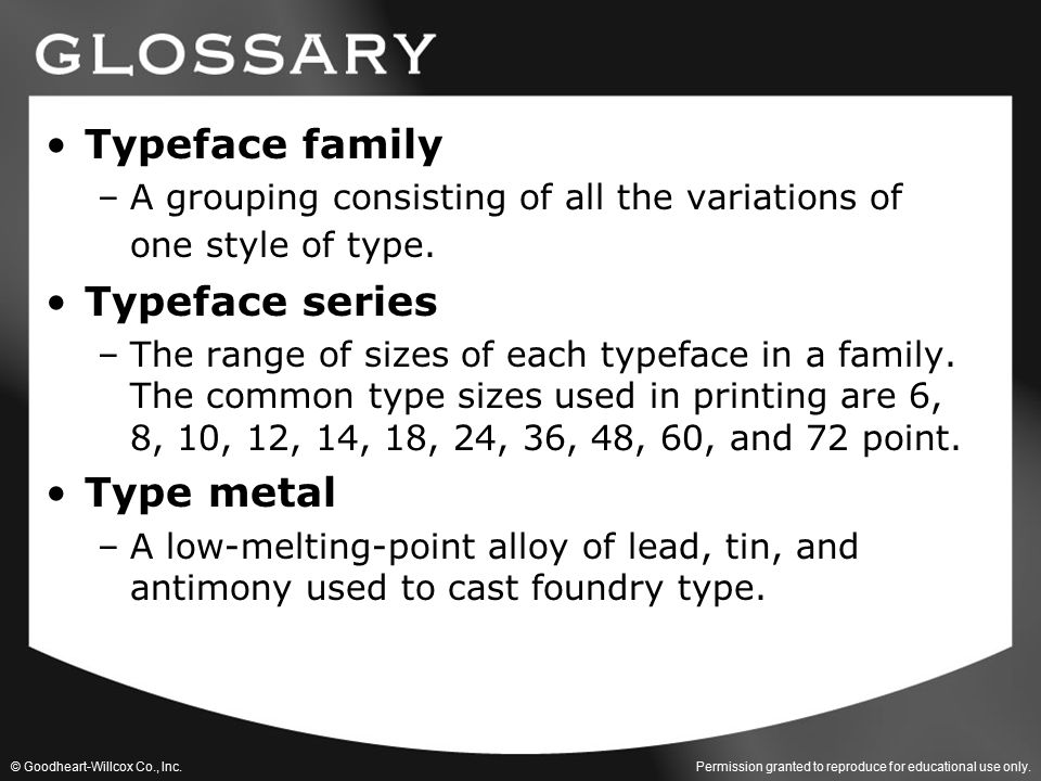 Typeface family Typeface series Type metal