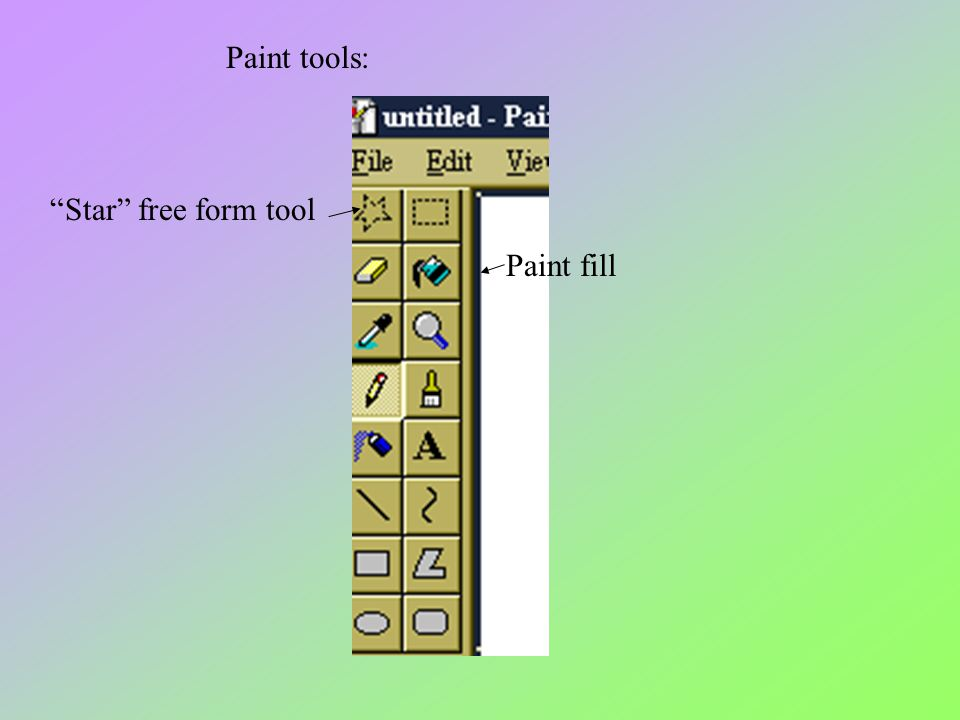 Paint tools: Star free form tool Paint fill