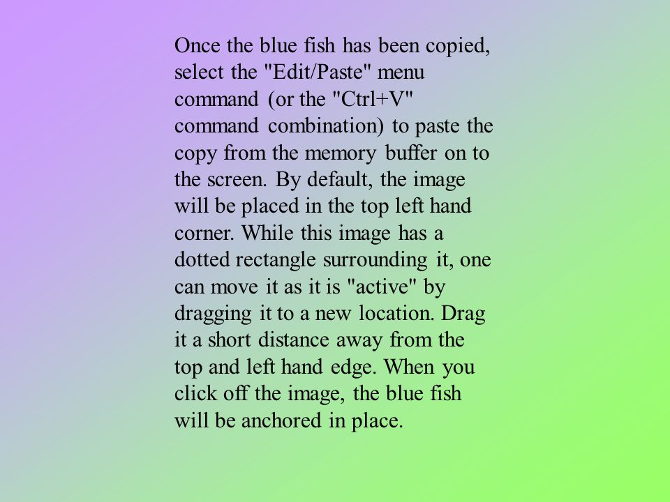 Once the blue fish has been copied, select the Edit/Paste menu command (or the Ctrl+V command combination) to paste the copy from the memory buffer on to the screen.
