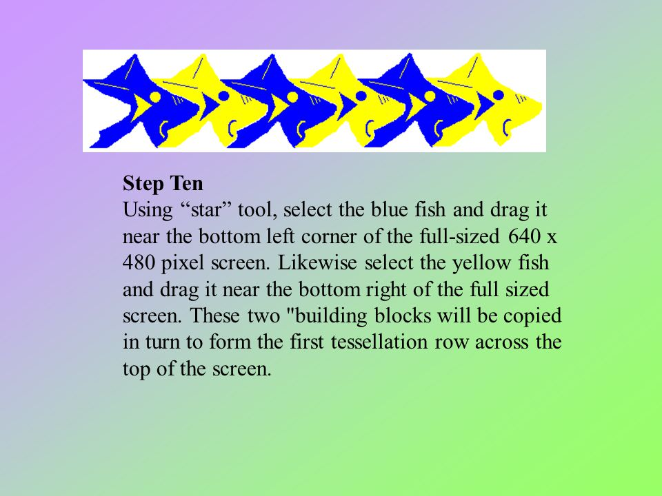 Step Ten Using star tool, select the blue fish and drag it near the bottom left corner of the full-sized 640 x 480 pixel screen.