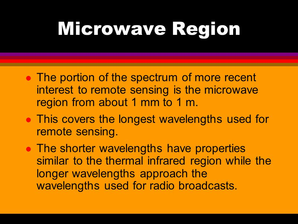Microwave Region The portion of the spectrum of more recent interest to remote sensing is the microwave region from about 1 mm to 1 m.