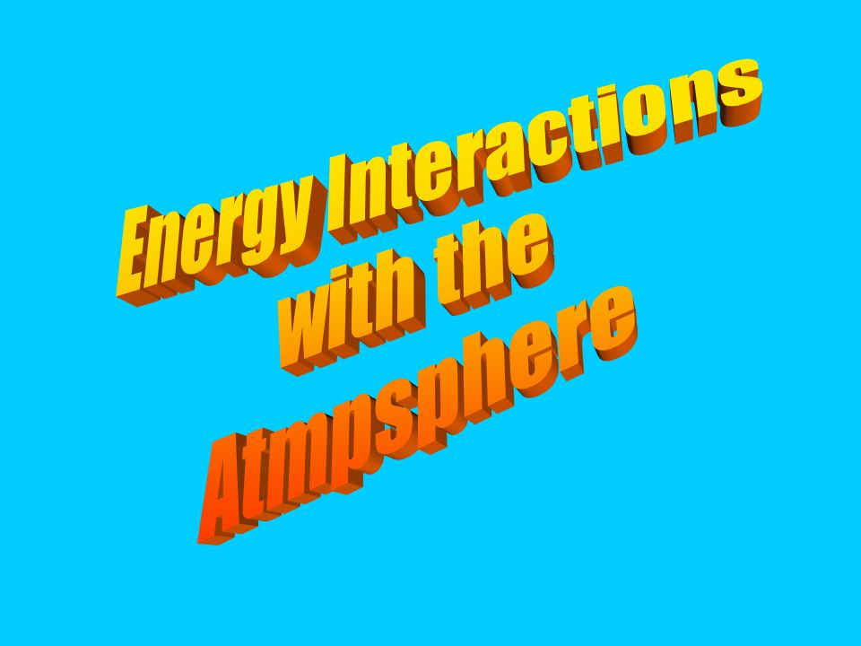 Energy Interactions with the Atmpsphere