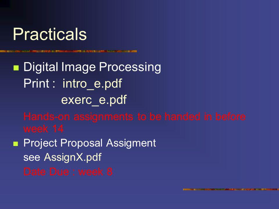 Practicals Digital Image Processing Print : intro_e.pdf exerc_e.pdf