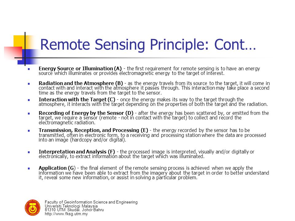 Remote Sensing Principle: Cont…
