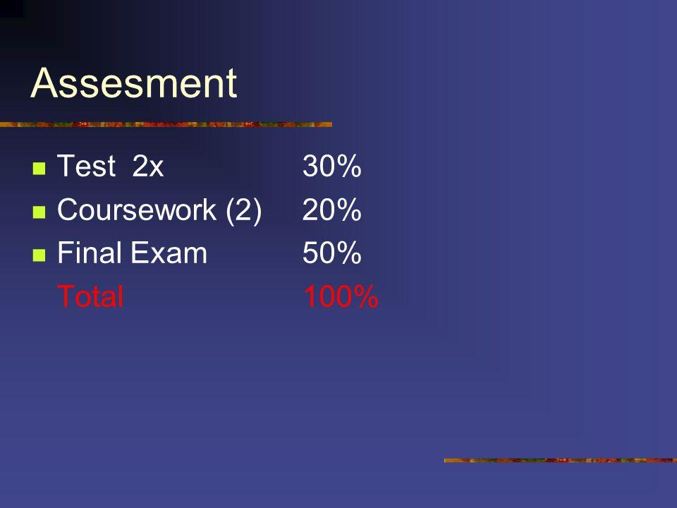 Assesment Test 2x 30% Coursework (2) 20% Final Exam 50% Total 100%