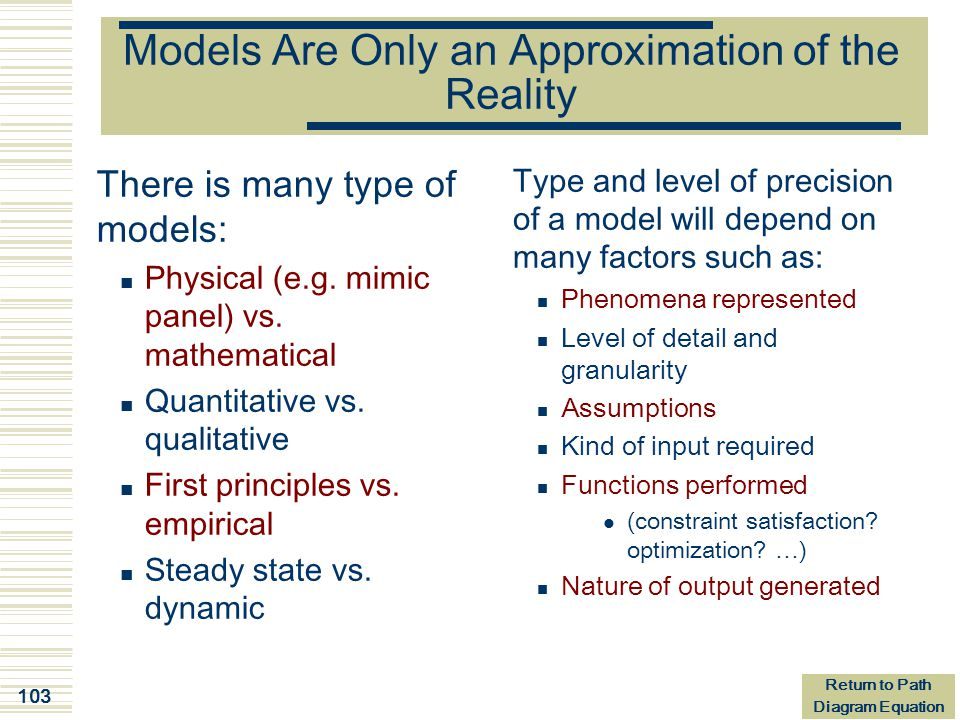 Models Are Only an Approximation of the Reality
