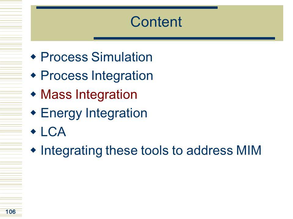 Content Process Simulation Process Integration Mass Integration