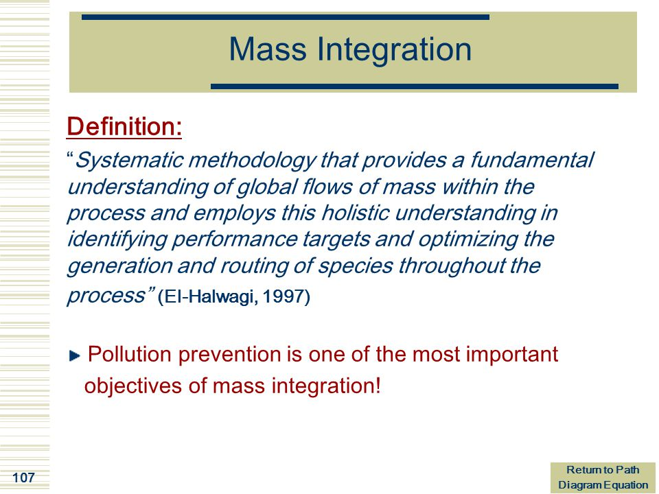 Mass Integration Definition: