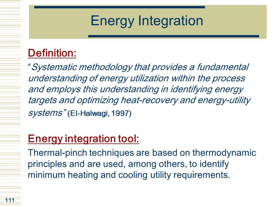 Energy Integration Definition: Energy integration tool: