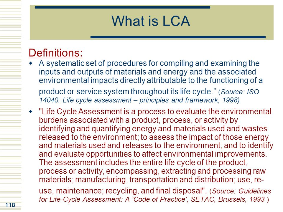 What is LCA Definitions: