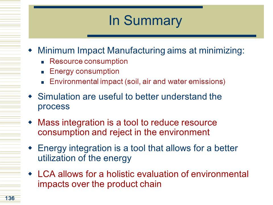 In Summary Minimum Impact Manufacturing aims at minimizing: