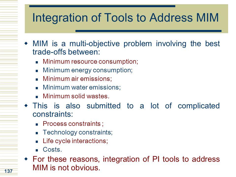 Integration of Tools to Address MIM