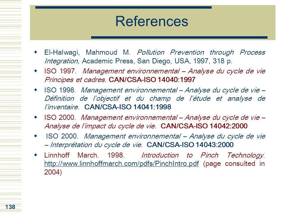 References El-Halwagi, Mahmoud M. Pollution Prevention through Process Integration, Academic Press, San Diego, USA, 1997, 318 p.