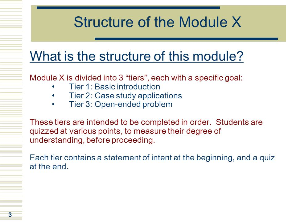 Structure of the Module X