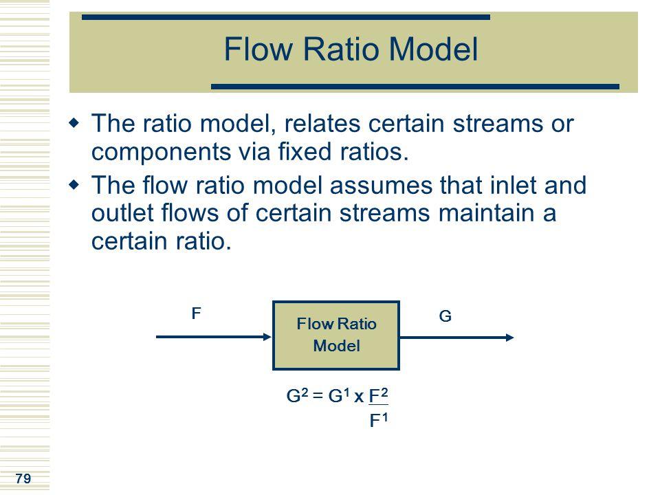 Flow Ratio Model The ratio model, relates certain streams or components via fixed ratios.