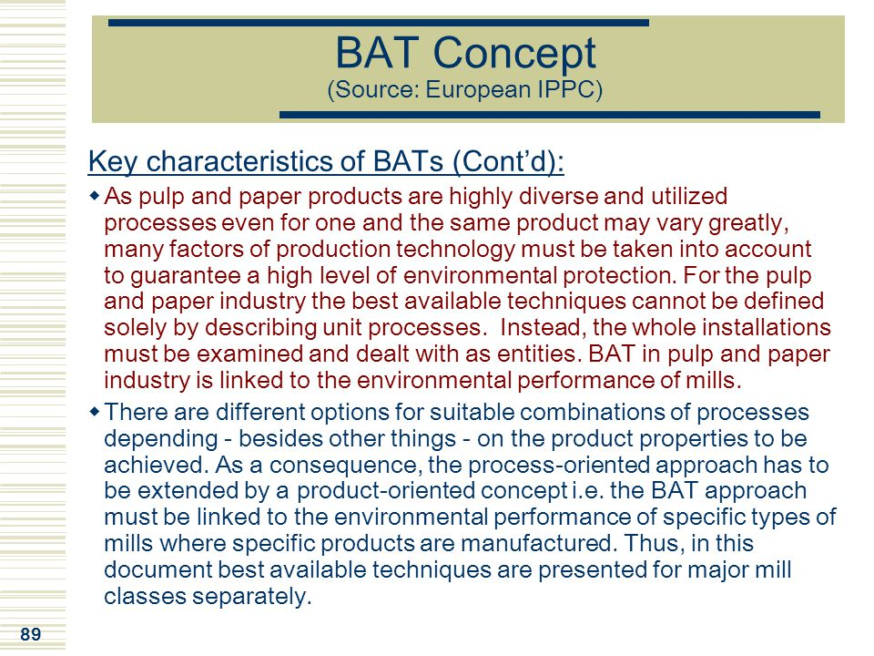 BAT Concept (Source: European IPPC)