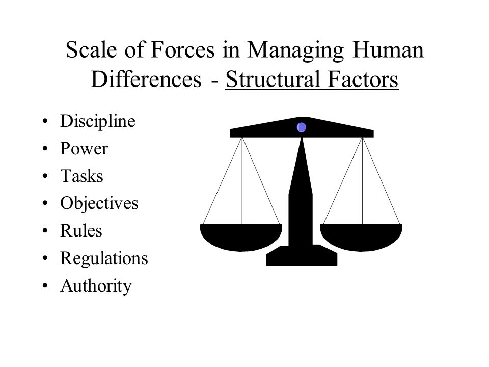 Scale of Forces in Managing Human Differences - Structural Factors