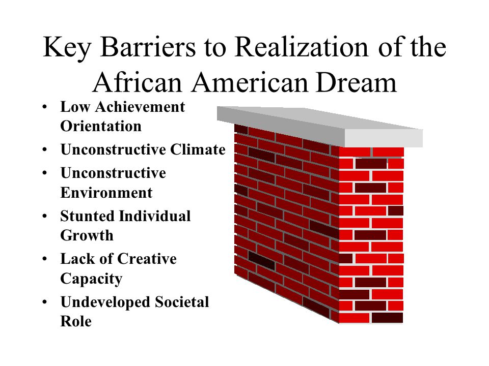Key Barriers to Realization of the African American Dream