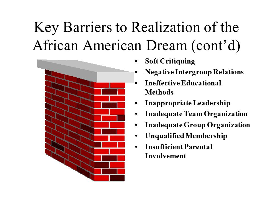 Key Barriers to Realization of the African American Dream (cont'd)