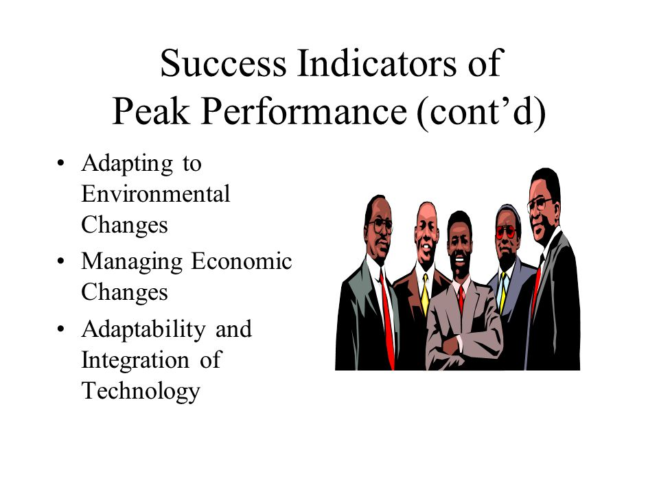 Success Indicators of Peak Performance (cont'd)