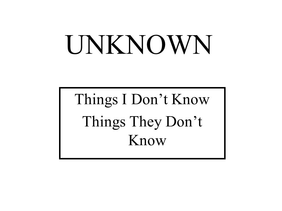 Things I Don't Know Things They Don't Know