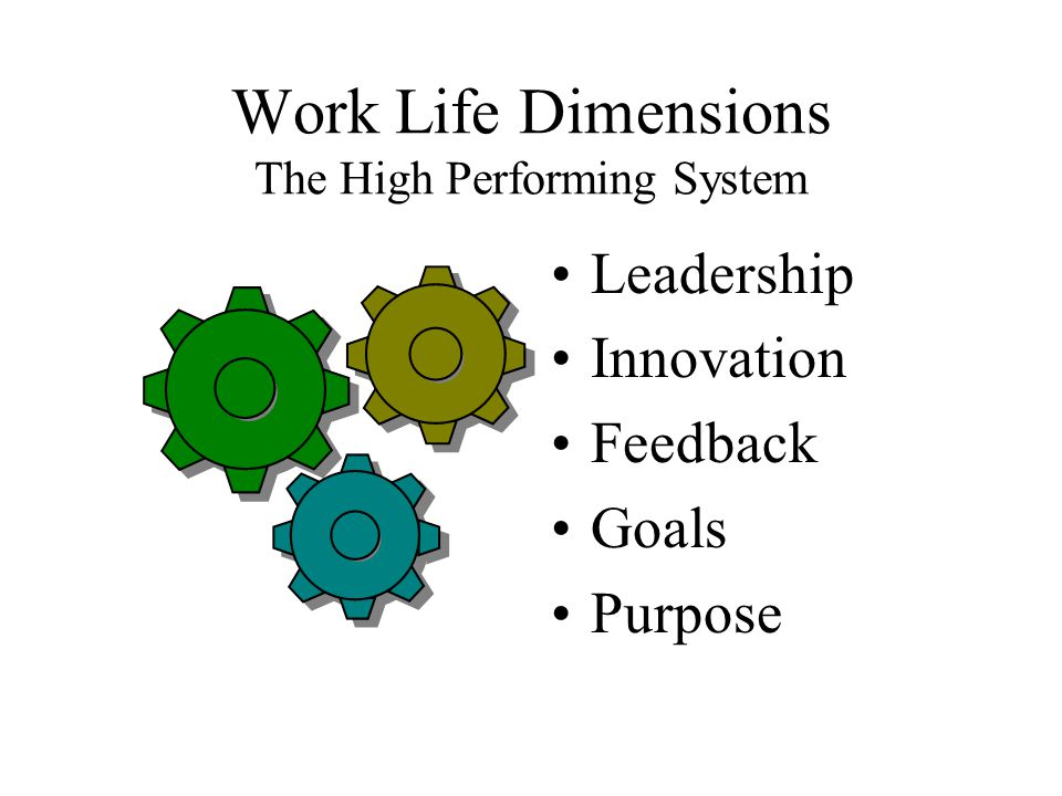 Work Life Dimensions The High Performing System