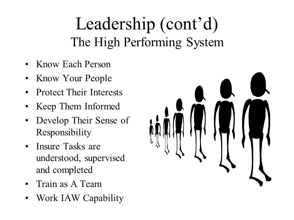 Leadership (cont'd) The High Performing System