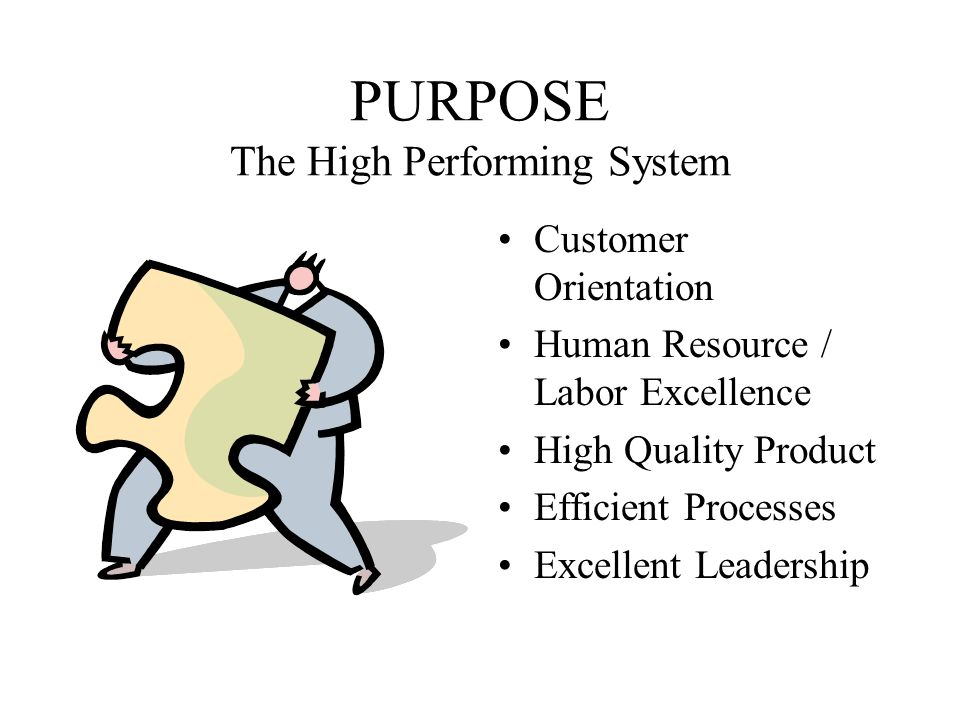 PURPOSE The High Performing System