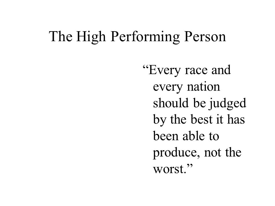 The High Performing Person