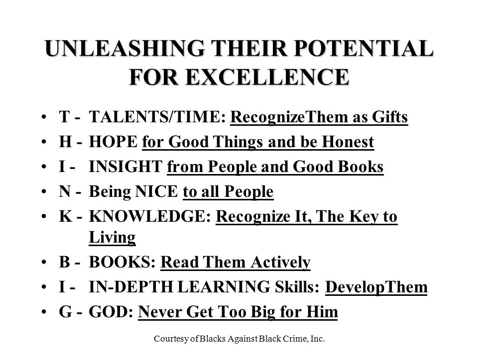 UNLEASHING THEIR POTENTIAL FOR EXCELLENCE