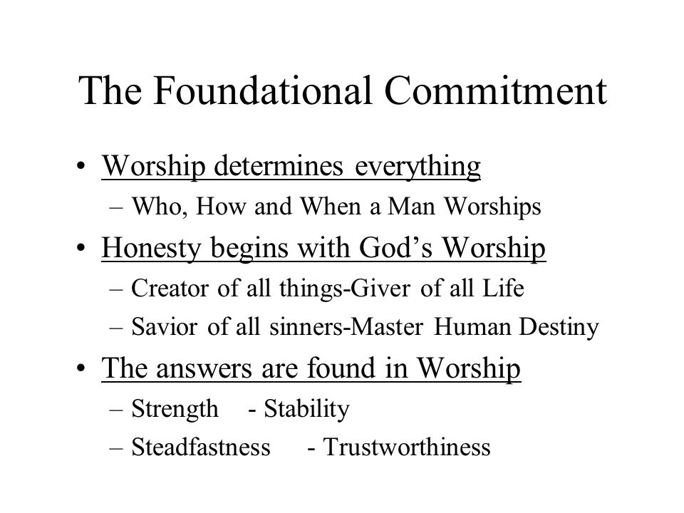 The Foundational Commitment
