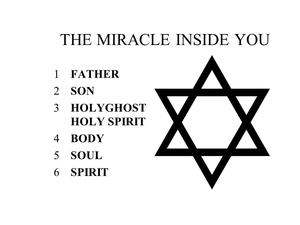 THE MIRACLE INSIDE YOU FATHER SON HOLYGHOSTHOLY SPIRIT BODY SOUL