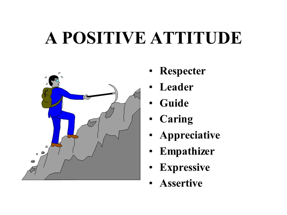 A POSITIVE ATTITUDE Respecter Leader Guide Caring Appreciative