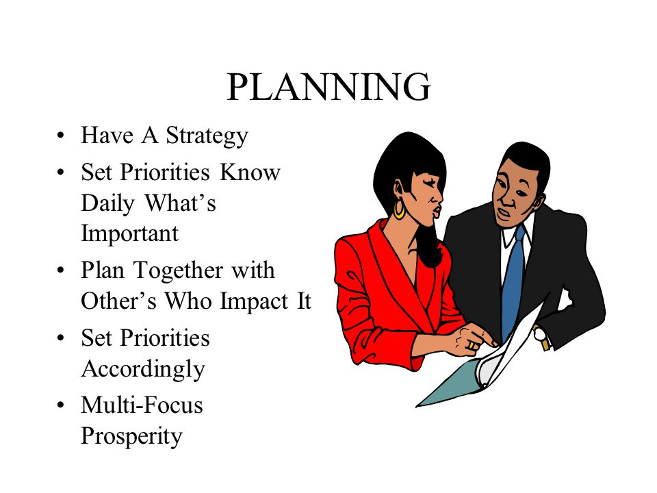 PLANNING Have A Strategy Set Priorities Know Daily What's Important