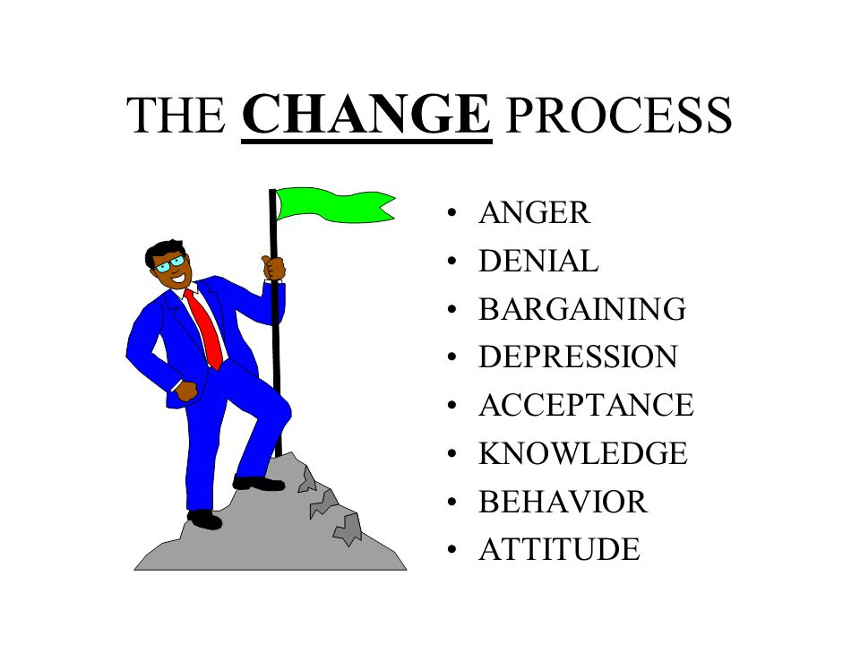 THE CHANGE PROCESS ANGER DENIAL BARGAINING DEPRESSION ACCEPTANCE
