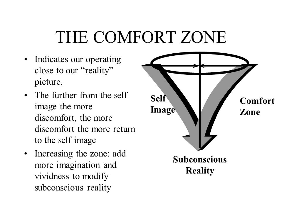 THE COMFORT ZONE Indicates our operating close to our reality picture.
