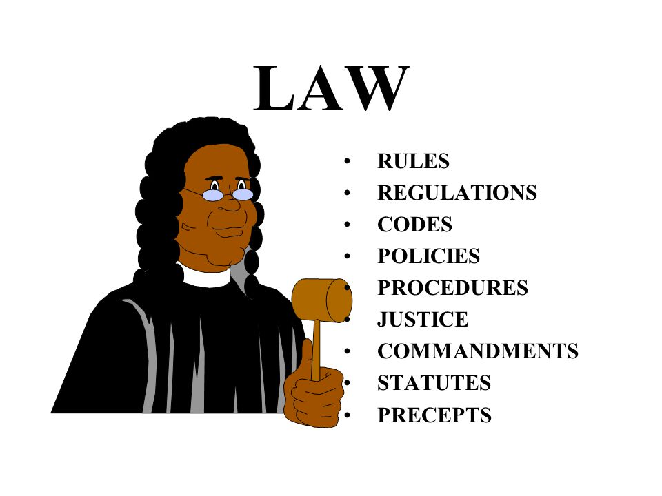LAW RULES REGULATIONS CODES POLICIES PROCEDURES JUSTICE COMMANDMENTS